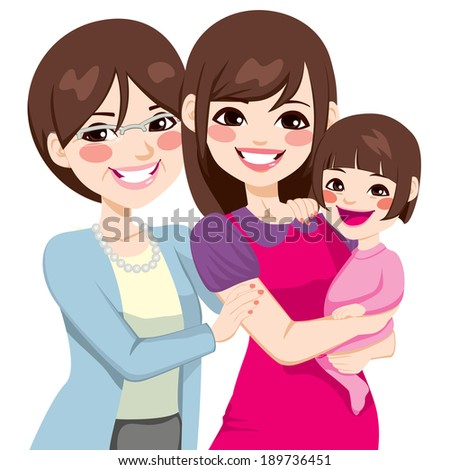 Young three generation family japanese women happy smiling together - stock photo