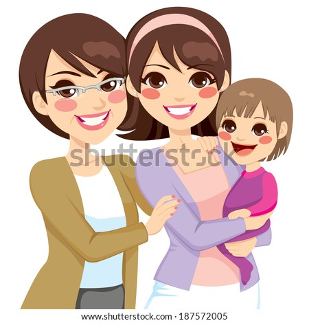 Young three generation family women happy smiling together - stock photo