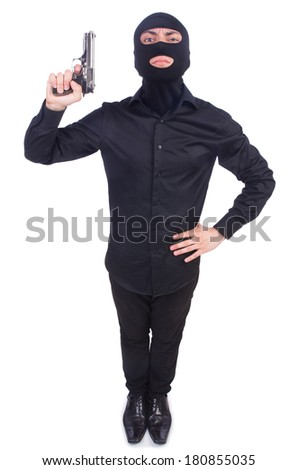 Young thug isolated on the white - stock photo