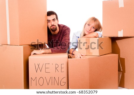 Young Tired Couple on Moving - stock photo