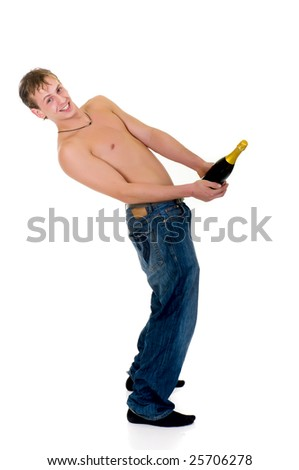 Young topless handsome man, holding champagne bottle,  Studio shot, white background - stock photo
