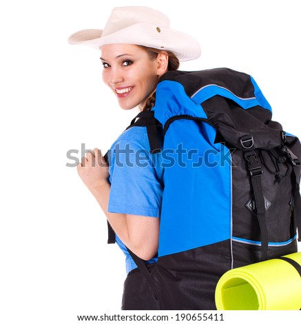 young tourist girl with backpack, white background - stock photo