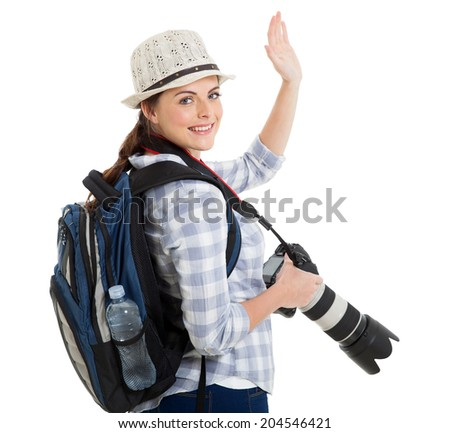young tourist waving good bye isolated on white - stock photo