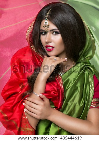 Young traditional Asian Indian woman in indian  sari