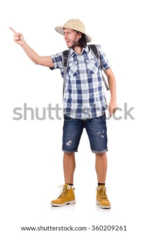 Young traveler with rucksack isolated on white