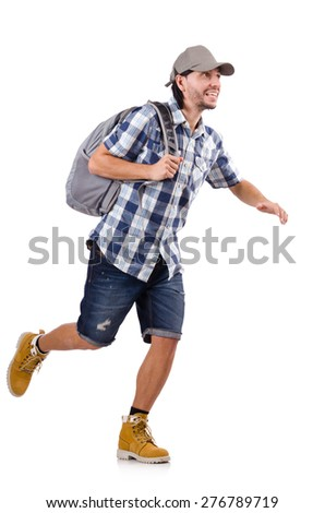 Young traveller with backpack isolated on white - stock photo
