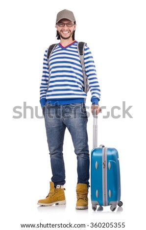 Young traveller with travel case isolated on white - stock photo