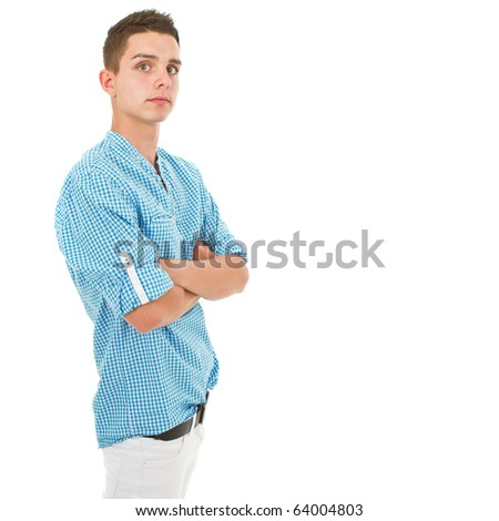 Young trendy teenager. Cute fresh model isolated over white background. - stock photo