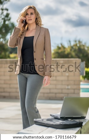 Young twenties caucasian career woman working remote - stock photo