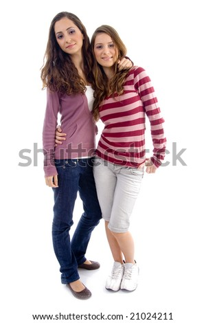 young two friends standing together with white background - stock photo