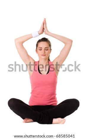 young very attractive female in yoga pose, studio shoot isolated on white - stock photo