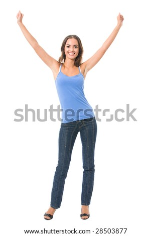 Young very happy gesturing smiling woman, isolated on white - stock photo