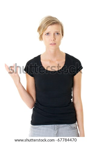 young very unhappy woman, trying to argue or to complain, studio shoot isolated on white