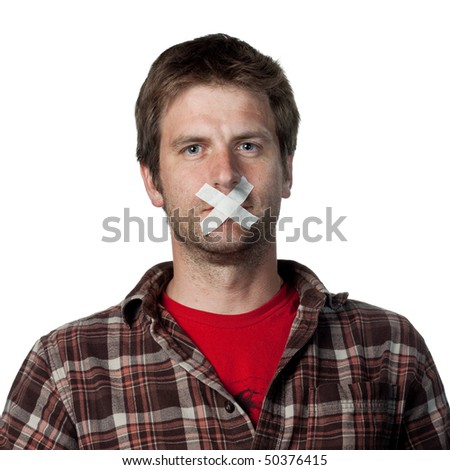 Young voiceless voter, silenced from speaking - stock photo