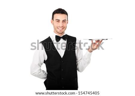 Young waiter portrait - stock photo