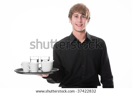 Young waiter with drinks
