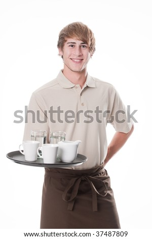 Young waiter with soft drinks