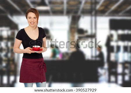 Young waitress in a Cafe Bar