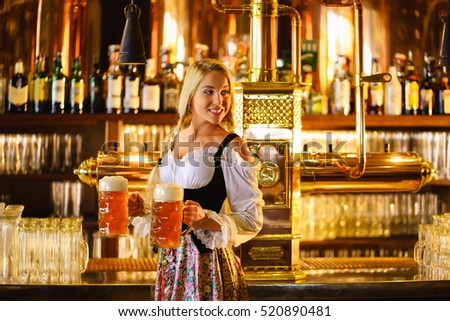 Young waitress in a pub