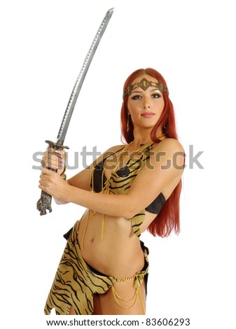 young warrior woman holding sword in her hand isolated on white background