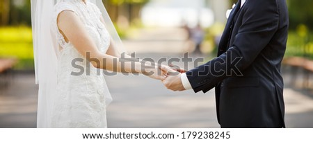 Young wedding caucasian couple. Groom and bride together. - stock photo
