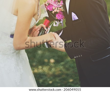 Young wedding caucasian couple together.