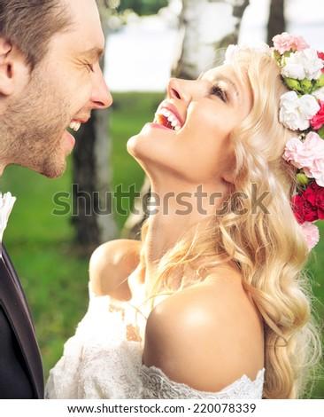 Young wedding couple  - stock photo