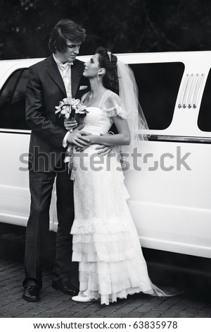 Young wedding couple. Black and white. - stock photo