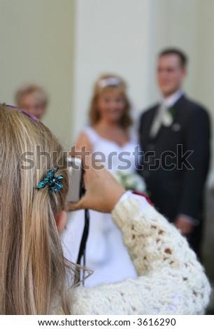 young wedding photographer - stock photo