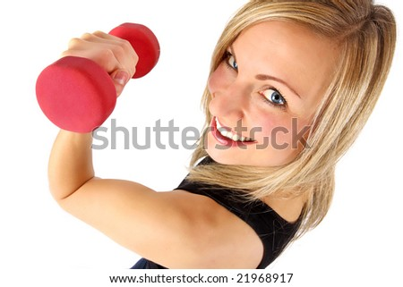 young well shaped blonde exercising with weights - stock photo
