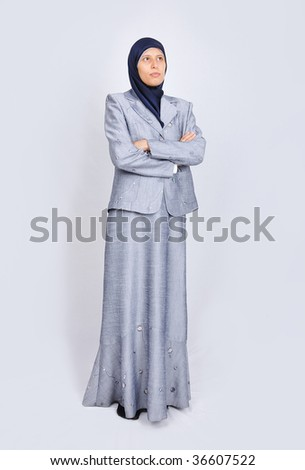 Young white beautiful muslim women standing - stock photo