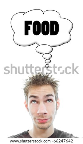 Young white Caucasian male adult thinks about food in his think bubble isolated on white background - stock photo