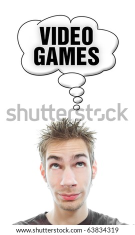 Young white Caucasian male adult thinks about video games in his think bubble isolated on white background - stock photo