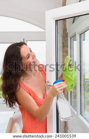 Young wife washing windows in house with spray