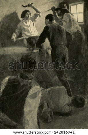 Young Wild Bill Hickok, showing his 'Desparate Fight in the Dug-Out- one man against ten. ' Print from a painting by John W. Norton. Illustration in THE STORY OF THE OUTLAW, by Emerson Hough, 1907. - stock photo