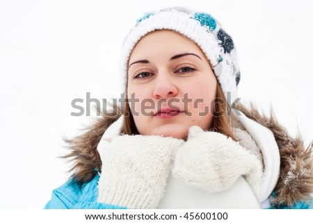 Young winter girl with snowboard - stock photo