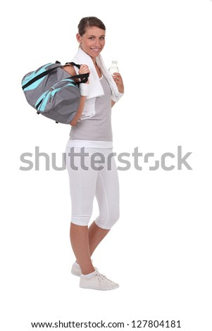 Young with sports bag - stock photo