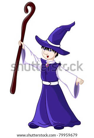 Young wizard. Rasterized version of vector illustration. Isolated over white - stock photo