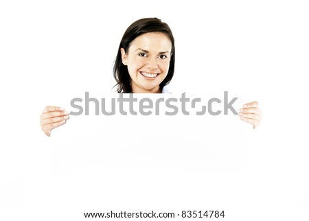 young woamn holding white card - stock photo