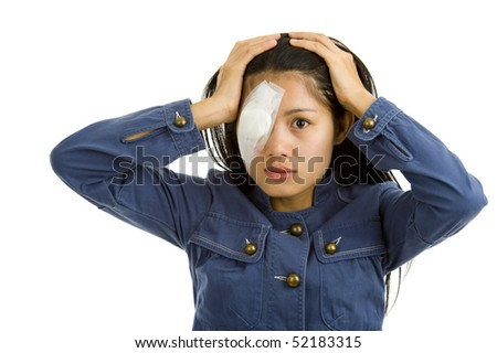 young woman after eye surgery, isolated on white background