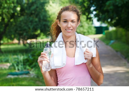 Young woman after sport workout - stock photo