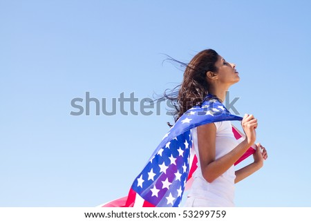 young woman American dream - stock photo