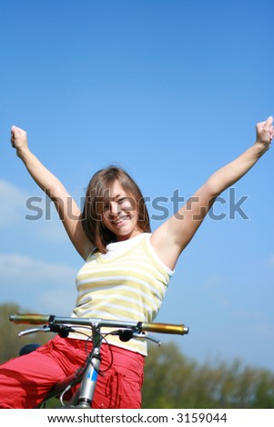 young woman and bike free time - stock photo