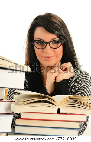 Young woman and books isolated on white. Female student learning - stock photo