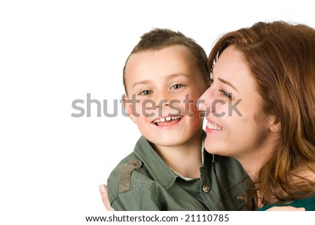 Young woman and child having fun, isolated on white background