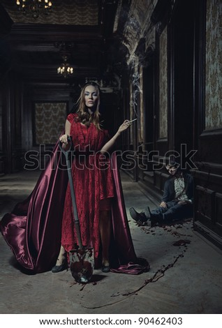 Young woman and dead man - stock photo