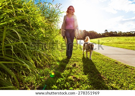 Young woman and golden retriever walking in the long grass - stock photo