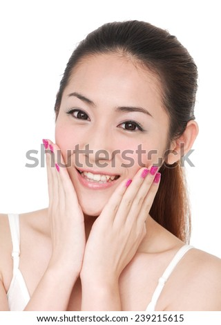 young woman and hand touch her face for skin care concept