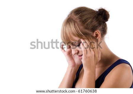 Young woman and headache isolated on white - stock photo