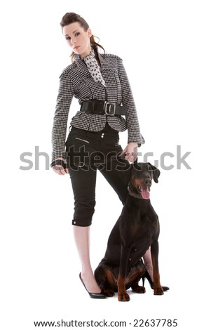 Young woman and her dog - stock photo
